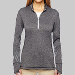 Ladies' Heather 3-Stripes Quarter-Zip Layering