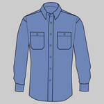 Long Size, Long Sleeve Striped Industrial Work Shirt