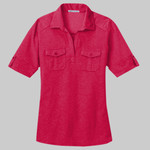 Ladies Oxford Pique Double Pocket Polo